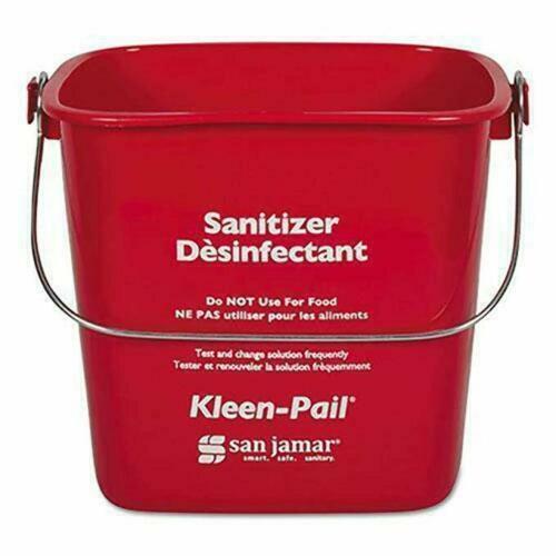 12 Pack San Jamar KP97RD 3 qt. Plastic Kleen Pail, Red, Sanitizer Bucket