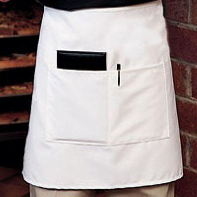 4 New White Server Waitress Waiter Half Bistro Apron 2 Pocket Quality Aprons