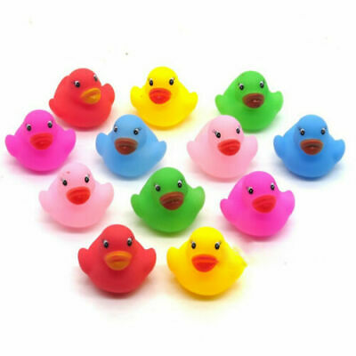 12 Pcs Colorful Baby Children Kids Bath Toys Cute Rubber Squeaky Duck Ducky NWE