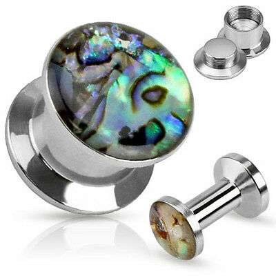 PAIR Abalone Inlay Steel Screw Fit Plugs Tunnels Earlets Gauges Body Jewelry