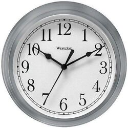 Westclox Silver Gray 9 Inch Decorative Wall Clock Second Hand Battery Operated