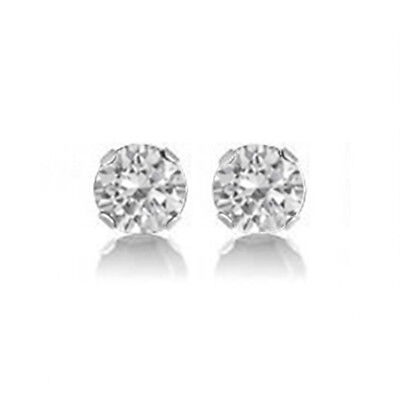 Best 7mm 6AAAAAA 925 Sterling Silver Round Cubic Zirconia Stud Earrings