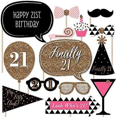 NEW Finally 21 Girl  21st Birthday Photo Booth Props Kit  20 Count