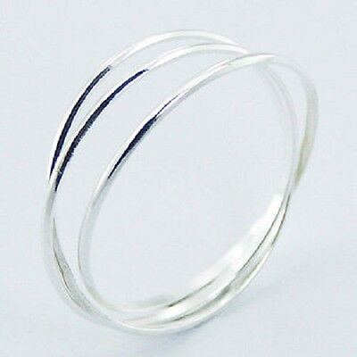 Silver ring interlocked triple 925 sterling delicate band ring size 8us fashion