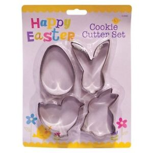 4 Easter Cookie Cutter Set Bunny Chicken Egg Chick Rabbit Cutter Fondant Biscuit