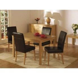 BRAND NEW SOLID OAKMERE DINING TABLE SET WITH 4 LEATHER CUSHIONED CHAIRS - HEAVY DUTY
