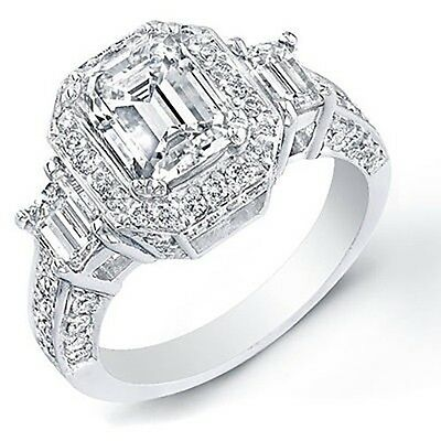 3.42 Ct. Emerald Cut Natural Diamond Engagement Ring GIA Certified
