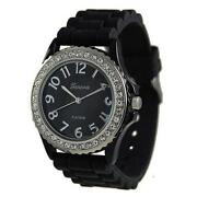 Womens Black Silicone Watch