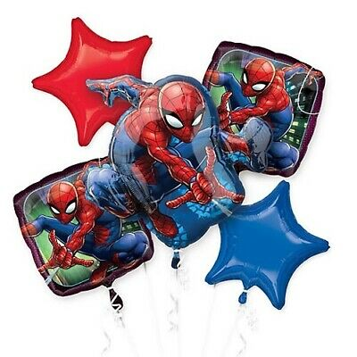 Spider-man 5pc Bouquet Birthday Party Foil Balloons Decorations - Spider Man Decorations