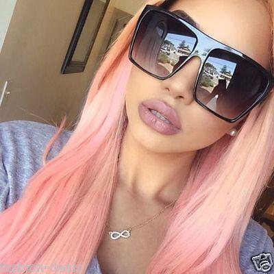 OVERSIZED Sunglasses Lauren Women Lady Flat Top Big Huge Sunnies Gafas - Plastic Sunglasses
