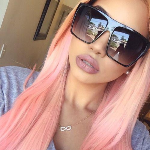 OVERSIZED Sunglasses Lauren Women Lady Flat Top Big Huge Sun