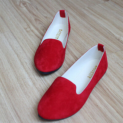 Fashion Womens Boat Shoes Casual Suede Ballet Slip On Flats Loafers Single Shoes