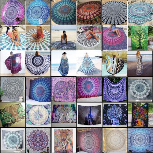 Mandala Tapestry Yoga Mat Round Beach Picnic Wall Hanging Bo