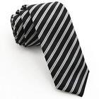 Mens Black and White Striped Tie