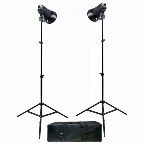 Promaster SM300 2 head studio light kit with stands, umbrellas and case