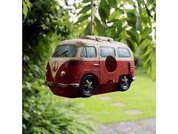 Small Wild Garden Bird Nesting Box Novelty VW Campervan Design Robin Finch House