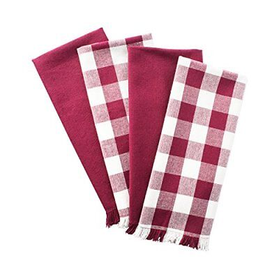 """DII Cotton Checker Fringed Dish Towels, 18 x 28"""" Set of 4, A"""
