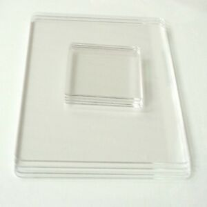 Clear acrylic rectangle shaped placemats coasters set of for Square narrow shape acrylic