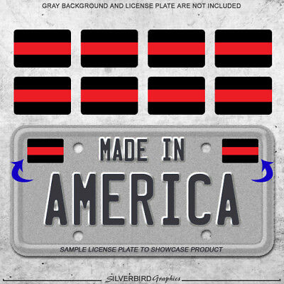 8x Thin red line mini sticker decals license plate car firefighter truck lives