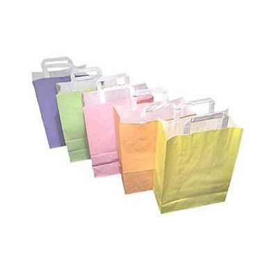 250 Papier - Tragetaschen 5 Farben 26+12x35cm