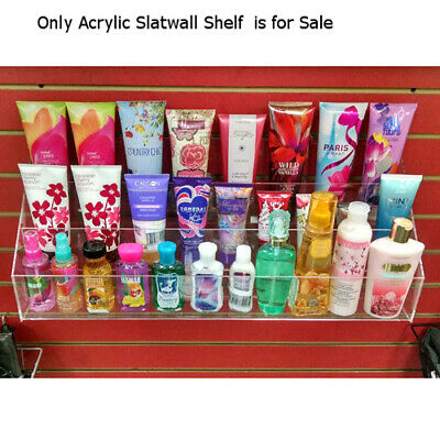 Acrylic 3 Tier Slatwall Shelf - 24 W X 8 D X 9 H Inches