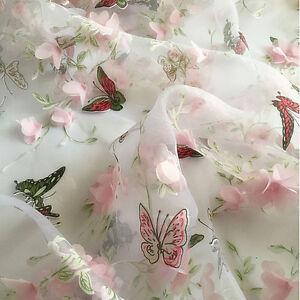 1yd Butterfly Print Chiffon Flower Organza Lace Fabric Wedding Dress 51