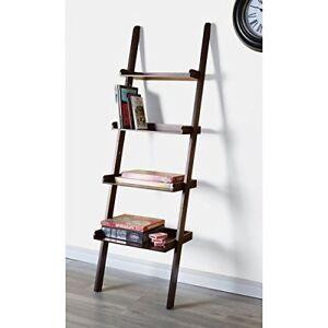 4 Tier Ladder Leaning Shelf Brown
