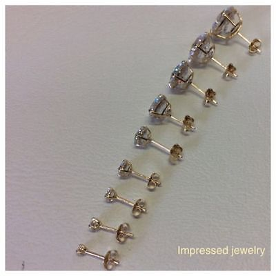 14K Solid Yellow Gold Round CZ Lady CHILDREN Stud Earrings Basket Setting 2-10mm