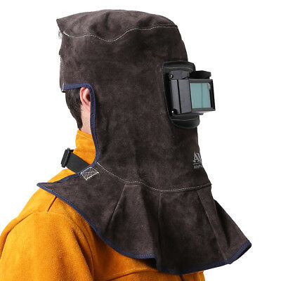 Ap-3001 Brown Fr Split Cowhide Leather Welding Helmet Hood W Safety Face Shield