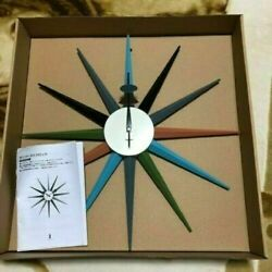 George Nelson Sunburst Wall Clock Multi Color Reproduct Design