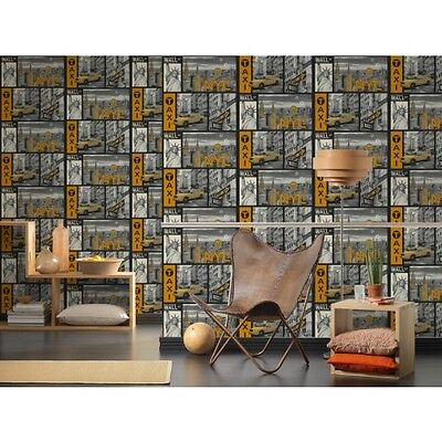 NYC NEW YORK CITY YELLOW CAB VINYL TEXTURED WALLPAPER A.S.CREATION 30045-1