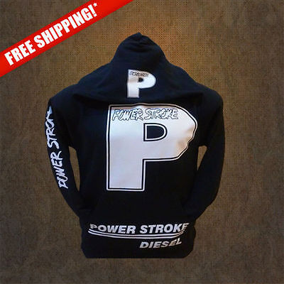 POWERSTROKE,FORD white print Pullover Hoodies(New) Adults HQ Hoody, sweatshirt (Hanes Adult White Sweatshirts)