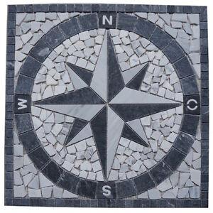 Naturstein Marmor Rosone 60x60 cm Mosaik Kompass Windrose Fliesen Einleger, NEU