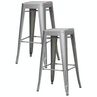 New Coaster 103150S 30in Steel Bar Stool - 2 Pack - Silver