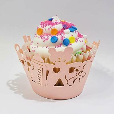 Baby Shower Cupcake Papers (Pink Baby Shower Gender Reveal Cupcake Wrappers Laser Cut Decorations Set of)