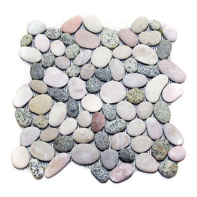 White Pebble Tile - Natural Pink Grey White Mixed Pebble Tile-River Rock Stone-Floors Showers Bath