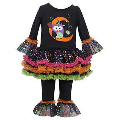 NWT BONNIE JEAN OWL SET leggings HALLOWEEN tutu tunic girl set sz 8 - Bonnie Jean Halloween 8