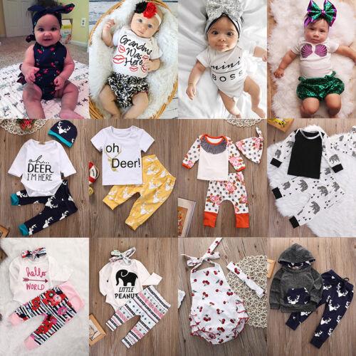 Toddler Newborn Baby Boy Girls Romper T-shirt Tops+Pants Out