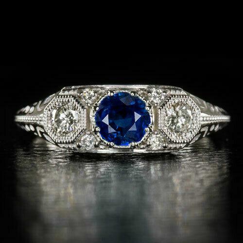Antique Vintage Art Deco 3 Stone Royal Blue Sapphire Diamond Ring 14k White Gold