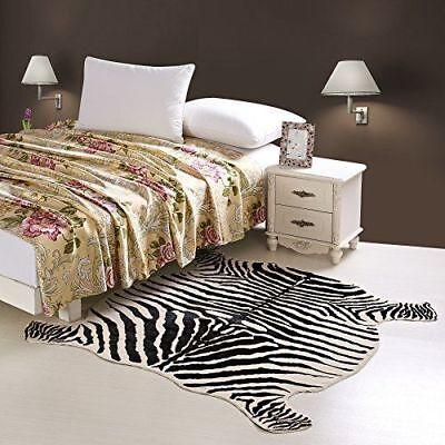 Faux Zebra Print Rug - Large Cowhide Rug Faux Zebra Cow Hide Carpet Home 4.8X4.9 Feet Animal Printed US