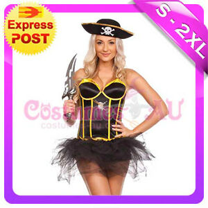 Ladies-Wench-Caribbean-Pirate-Costume-Swashbuckler-Halloween-Fancy-Dress-Up-Hat