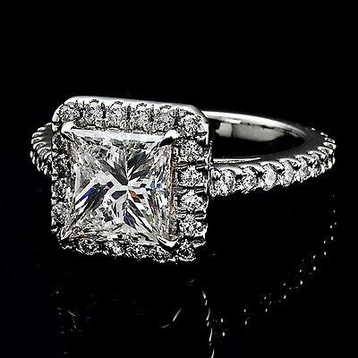4.57 ct Platinum Princess Cut Diamond Halo Engagement Ring J/VS2 Rtl $55k GIA