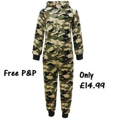 Jungen Mädchen Tarnung Armee Tarnfarbe Fleece Overall Kostüm Age 7 8 9 10 11 12
