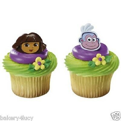 12 PARTY  DORA THE EXPLORER AND BOOTS FACES BIRTHDAY PARTY CUPCAKE RINGS 12