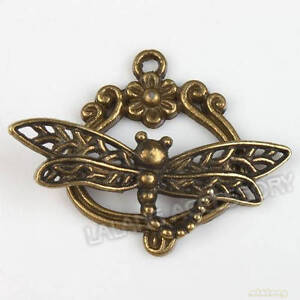 15pcs 160702 wholesale charms dragonfly bronze toggle