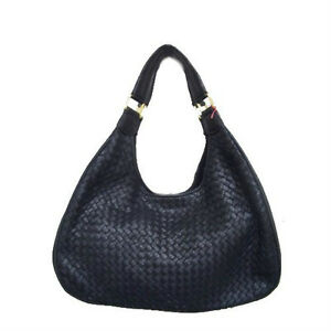 NEW - Lambskin Woven Leather Hobo Handbag - Black