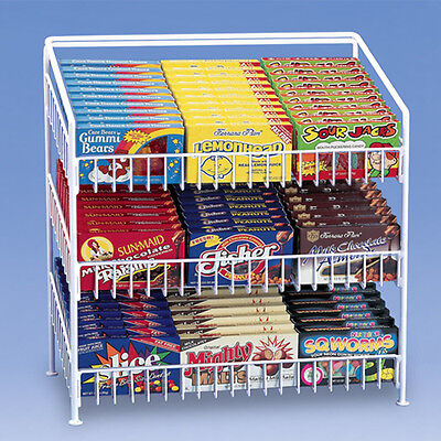 3 Tier Shelf Counter Top Snack Potato Chip Candy Display Rack 24 H - White