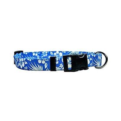 NEW Blue Dog and Cat Collar in Blue Aloha Hawaiian Flowers b
