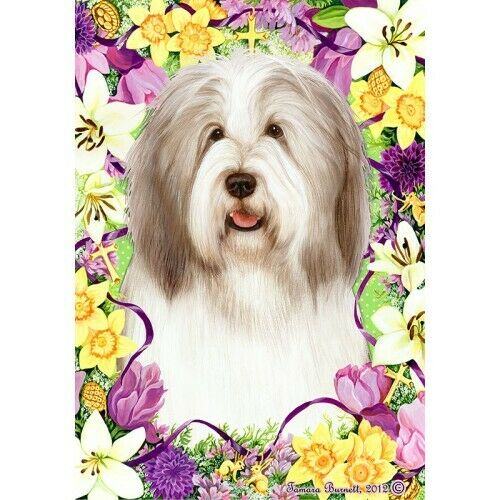 Easter House Flag - Fawn and White Bearded Collie 33483
