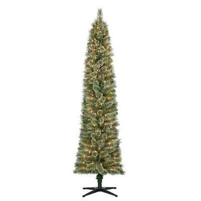 Home Heritage Stanley 7' Artificial Pine Slim Christmas Tree w/ Lights (Used) Pine Slim Christmas Tree
